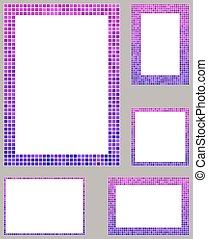 Purple pixel mosaic page layout border set