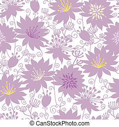 Vector purple shadow florals seamless pattern background with line art flowers.