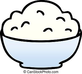 quirky gradient shaded cartoon bowl of mash
