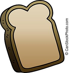 quirky gradient shaded cartoon slice of bread