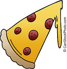 quirky gradient shaded cartoon slice of pizza
