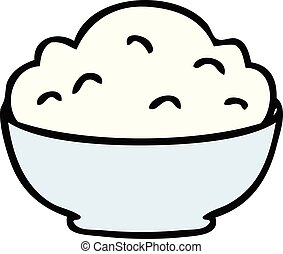 quirky hand drawn cartoon bowl of mash