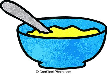 quirky hand drawn cartoon bowl of soup