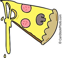 quirky hand drawn cartoon slice of pizza