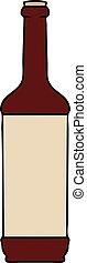 quirky hand drawn cartoon wine bottle