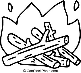 quirky line drawing cartoon campfire