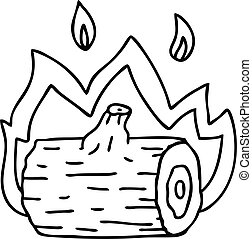 line drawing quirky cartoon campfire