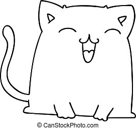 quirky line drawing cartoon cat