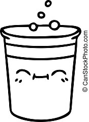 quirky line drawing cartoon cup of lemonade