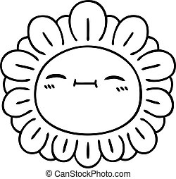 quirky line drawing cartoon flower