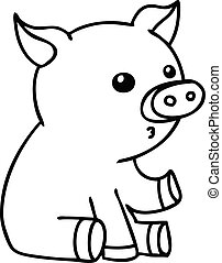 quirky line drawing cartoon pig