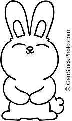 quirky line drawing cartoon rabbit
