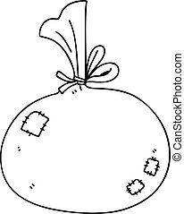 quirky line drawing cartoon sack