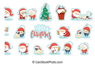 Quirky Santa Claus Funny Christmas characters in flat style.