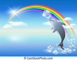 Dolphin leaps from water on the background of rainbow