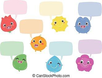 Rainbow Color Characters Speech Bubbles