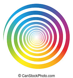 Rainbow color gradient spiral. Isolated vector illustration on white background.