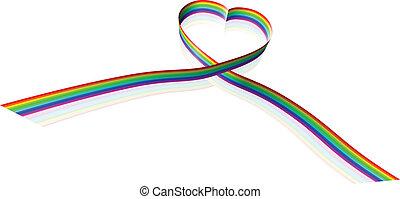 Rainbow coloured heart shape ribbon