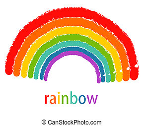 Drawing of rainbow. Vector illustration