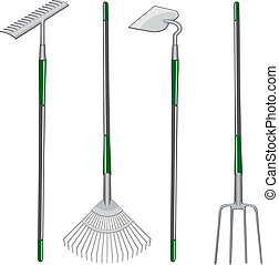 Illustration of two types of rakes, one hoe and one pitchfork.
