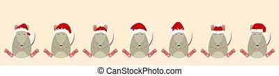 Rats Santa Claus in Hats. Funny Christmas Characters