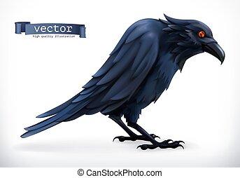 Raven. Happy Halloween 3d vector icon