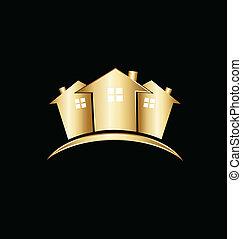 Real estate gold houses logo
