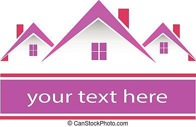 Real estate pink houses logo