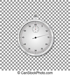 Realistic Classic silver stopwatch isolated object on transparent background. Vector Illustration