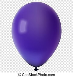Realistic colorful vector balloon, isolated on transparent background
