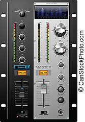Set of useful controls to design recording studio equipment. UI elements: knobs, buttons, tumblers, switches, graphic analyzer