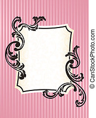 Rectangular Romantic French retro frame in pink