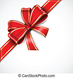 Red and gold vector gift bow and ribbon