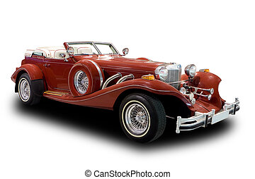 Red Antique Car Isolated on White