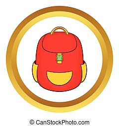 Red backpack vector icon