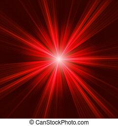 Red bursting star on dark background. EPS 8