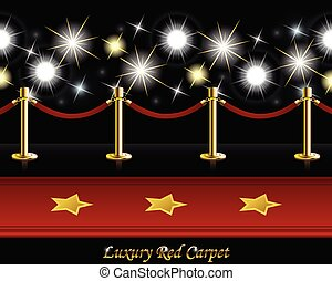 Red Carpet with Poles and Barrier Rope in front of Paparazzi Flashes
