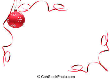 Red decorated christmas bulbs on a white background
