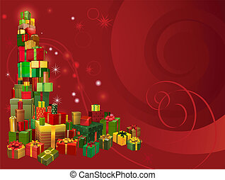 Red Christmas gift background