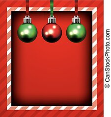 Red Christmas Holiday Frame and Ornaments Background Illustration