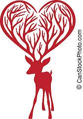 deer with heart antlers, vector