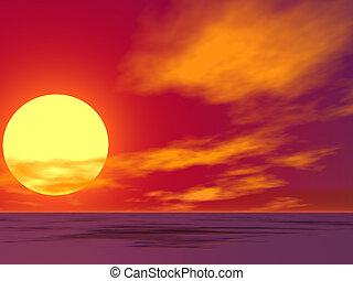 Brilliant sunrise over a vacant desert