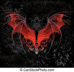 Red Dragon wings, decorated with a pattern on a black textural background.