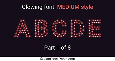 Red Glowing font in the Outline style
