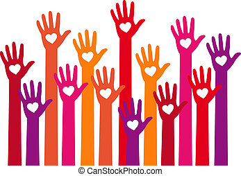 red hands with heart, vector
