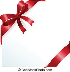 Page corner with red ribbon and bow. Place for copy/text.