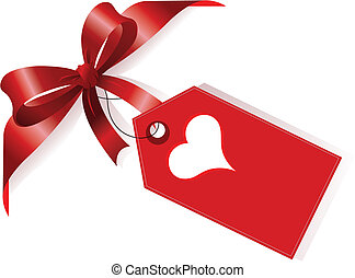 Red ribbon and label with heart