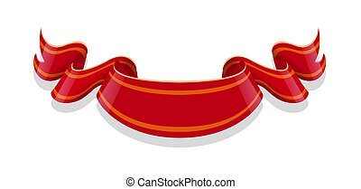 Red ribbon isolated on white backgroun. Vector illustration.