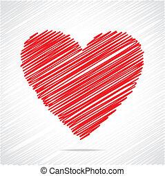 Red sketch heart design stock vector