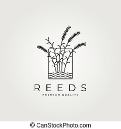 reeds minimalist logo with water vector vintage illustration design